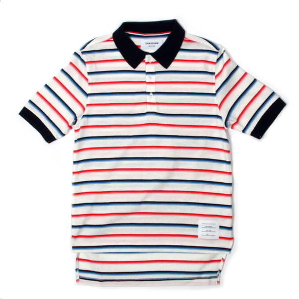 Thom Browne Madras Stripe Jersey Polo