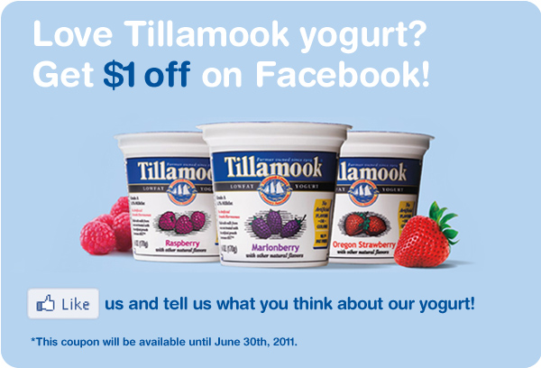 Love Tillamook Yogurt? Get $1 off on Facebook!