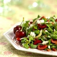 mache salad with cherries