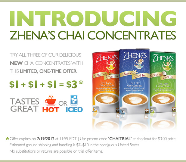 Try Chai! New Chai Concentrates for $3 now through 7/19.
