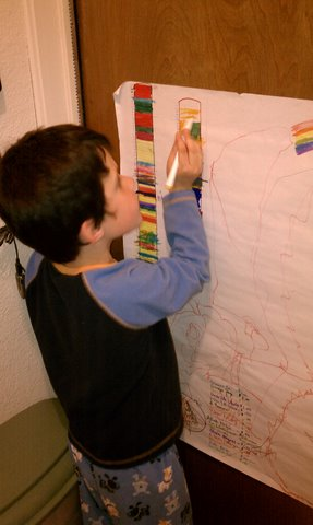 Daniel marking off his chart