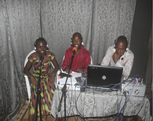 Volunteers streaming live at 3 angels radio-Kisangani DRC