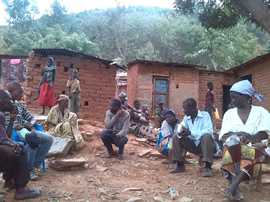 church meeting outside in African village