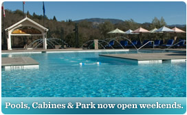 Pools, cabines and park now open weekends.
