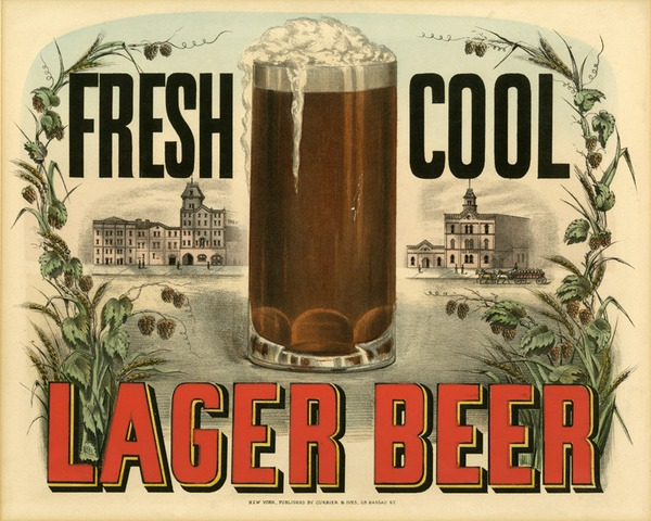 Fresh Cool Lager Beer Currier & Ives Print