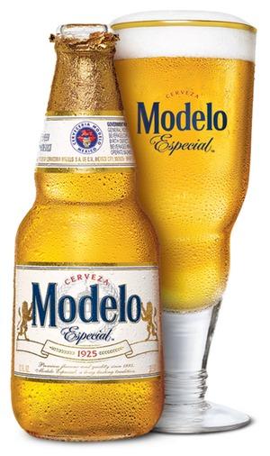 Modelo bottle and glass shot