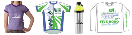 renderings of women's shirt, jersey, bottle, and long-sleeve shirt
