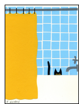 Cat in Tub Original Art