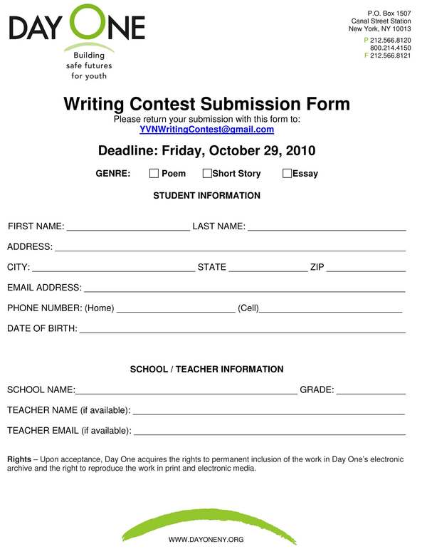 essay contest application form The queen's commonwealth essay competition is the world's oldest schools' international writing competition this international schools' writing contest.