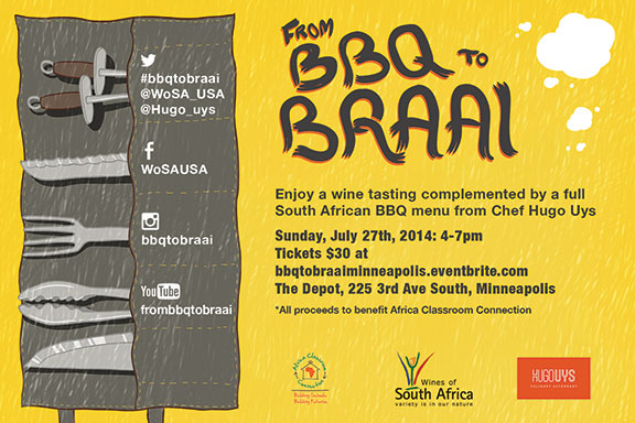 "WoSA and ACC present the ""From BBQ to Braai"" event on 7-27-14 from 4pm to 7pm at The Depot"