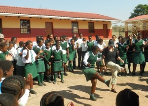 2014 traveler Cailee dances at Yalema Secondary School.