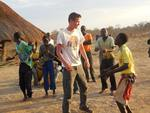 Ian dancing with kids, 2013 Learning Tour