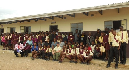 Travelers at a Jevu Secondary School classroom given by Collegiate Churches of New York.