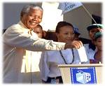 Nelson Mandela casts his first vote on April 30th, 1994.