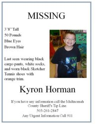 Kyron Missing Poster