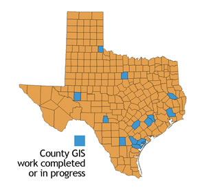 County GIS work completed or in progress