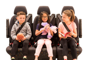 3 children across the back with toys - black seat