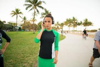 Woman Green Headphones