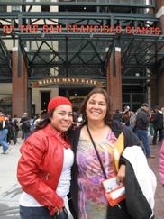 DDC Team Manager Michele Hill and DDC Program Assistant Marlene Mazariegos from the Homeless Prenatal Program pose in front of AT&T Park before the game
