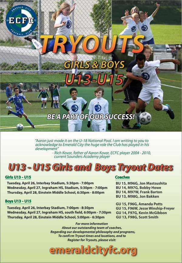 Emerald City FC U13-15 Soccer Tryouts