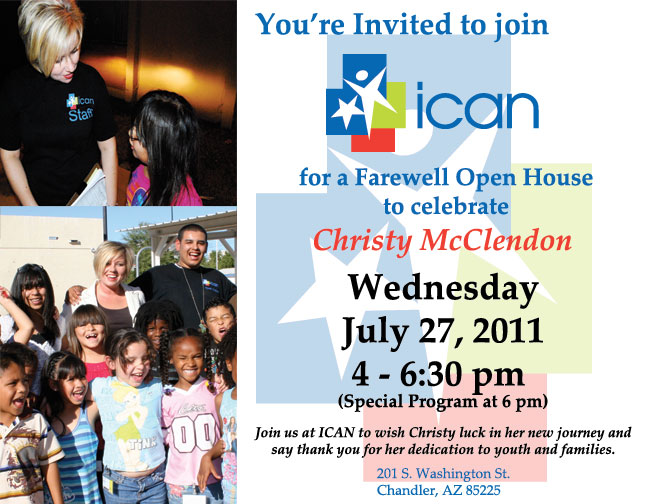 Christy McClendon ICAN Farewell Open House