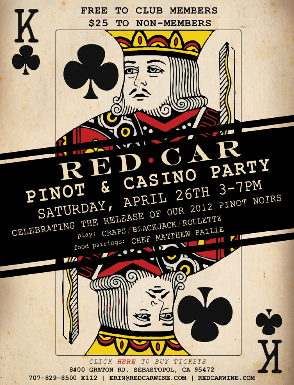 pinot casino Red Car Wine Pinot & Casino Party