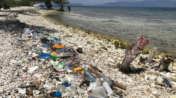Coastline of La Gonave littered with trash