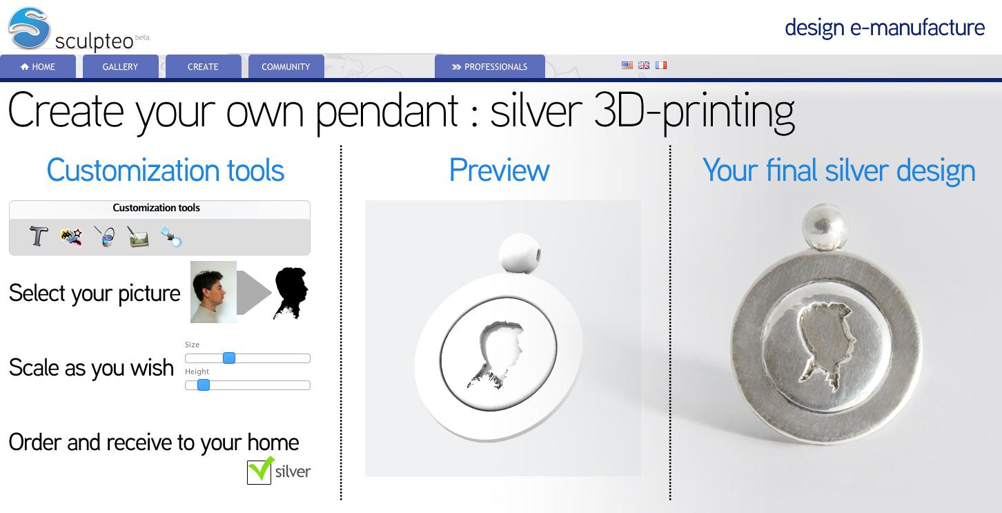 sculpteo silver 3D printing Screen 2